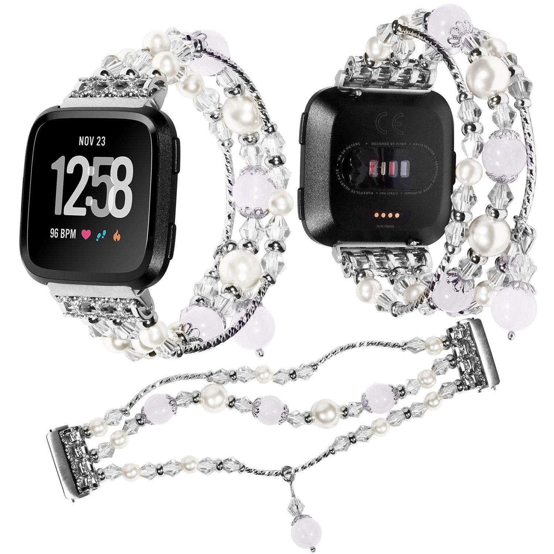 Fü r Fitbit Versa Armband Damen, Qianyou Fitbit Versa Armband Perlen Luxus Handgelenk Ersatzband Armbä nder Klassisches Armband Uhrenarmbä nder Uhrenarmband fü r Fitbit Versa Uhr, 3 Reihen Schwarz