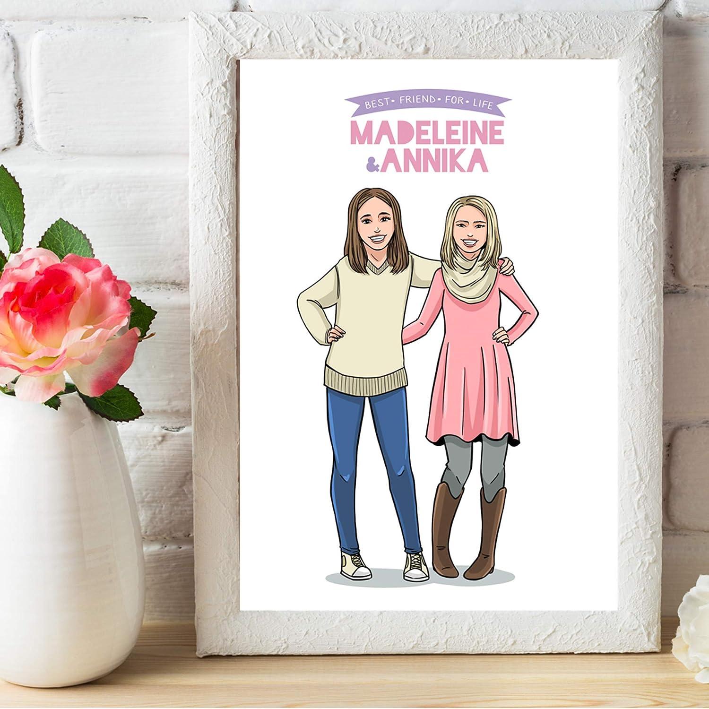Customized Friendaversary Portrait - Thoughtful Best Friend Gifts For  Female - Sentimental BFF Birthday Ideas To Give Girlfriend