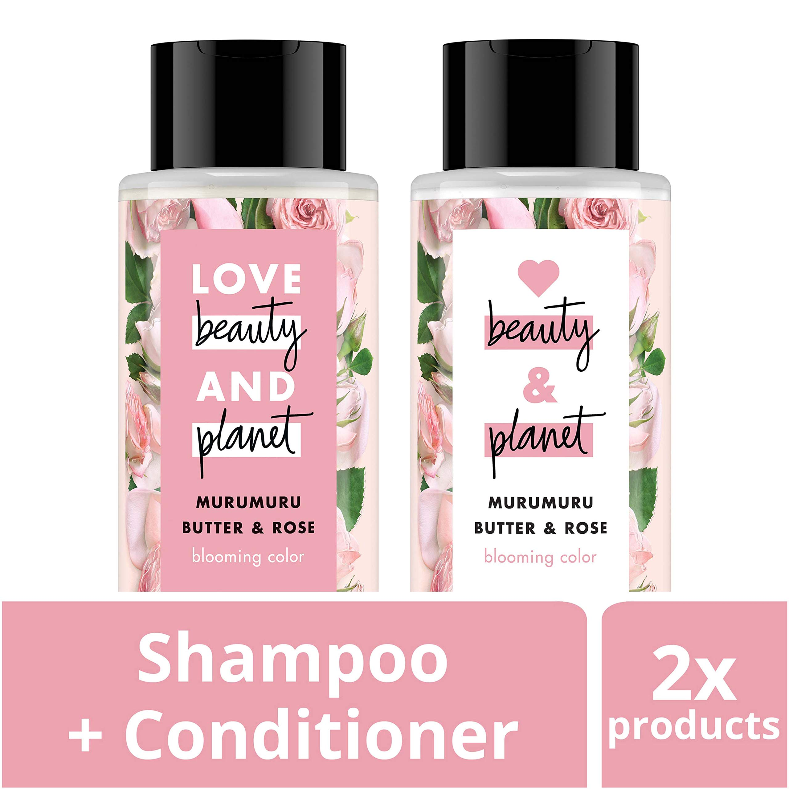 Love Beauty And Planet Rose Shampoo and Conditioner for Color Treated Hair, Silicone Free, Paraben Free and Vegan, 13.5 oz, 2 count by Love Beauty And Planet