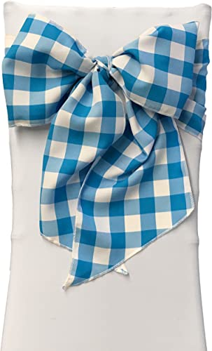 LA Linen Checkered Chair Bows Sashes, 8 by 108-Inch, Turquoise White, 10-Pack