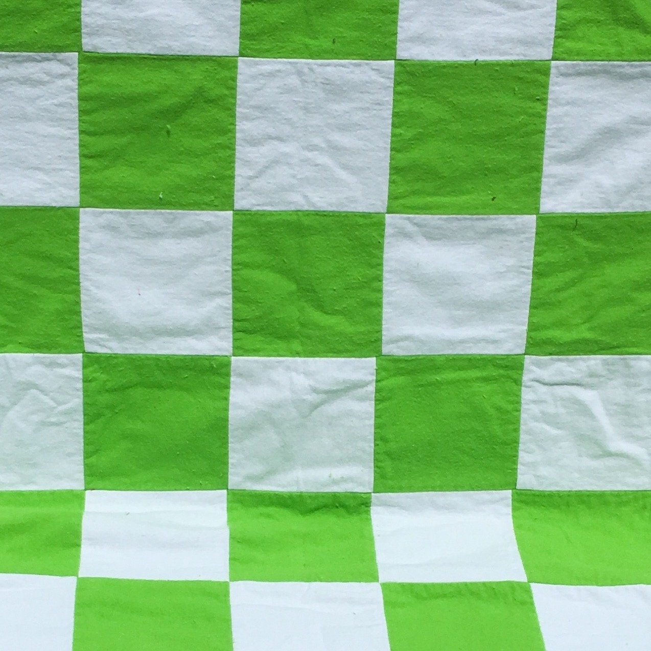 Reversible baby quilt stripes and green