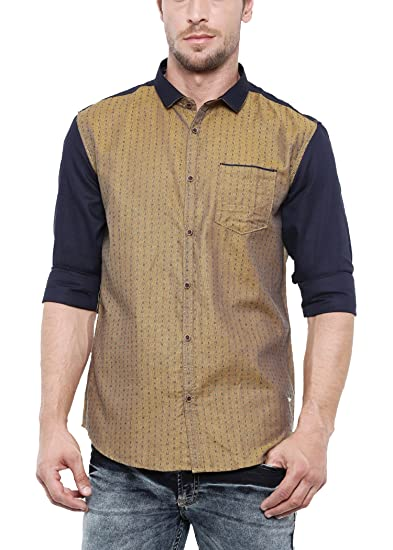 b6b9a6c979 SHOWOFF Mens Cotton Blend Full Sleeves Slim Fit Solid Yellow Casual Shirt