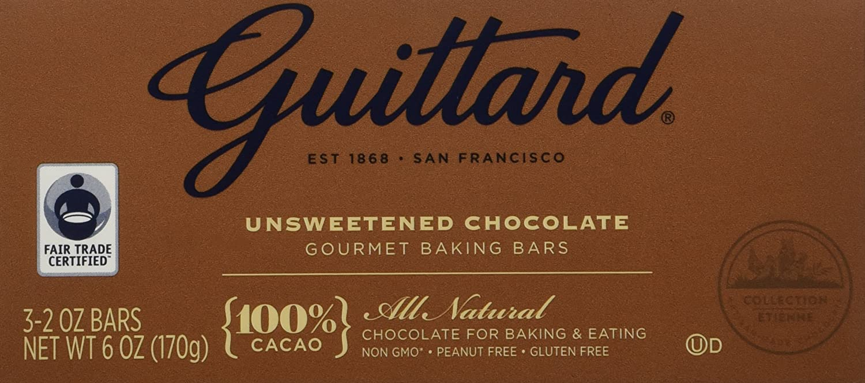 Amazon.com : Guittard, 100% Unsweetened Chocolate Baking Bar, 6oz ...