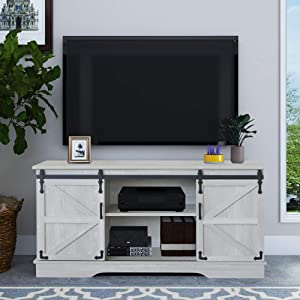 GHQME Sliding Barn Door TV Stand,58 Inch Storage Table,Wood Universal Stand,Living Room Storage Shelves Entertainment Center (Sliver MI)