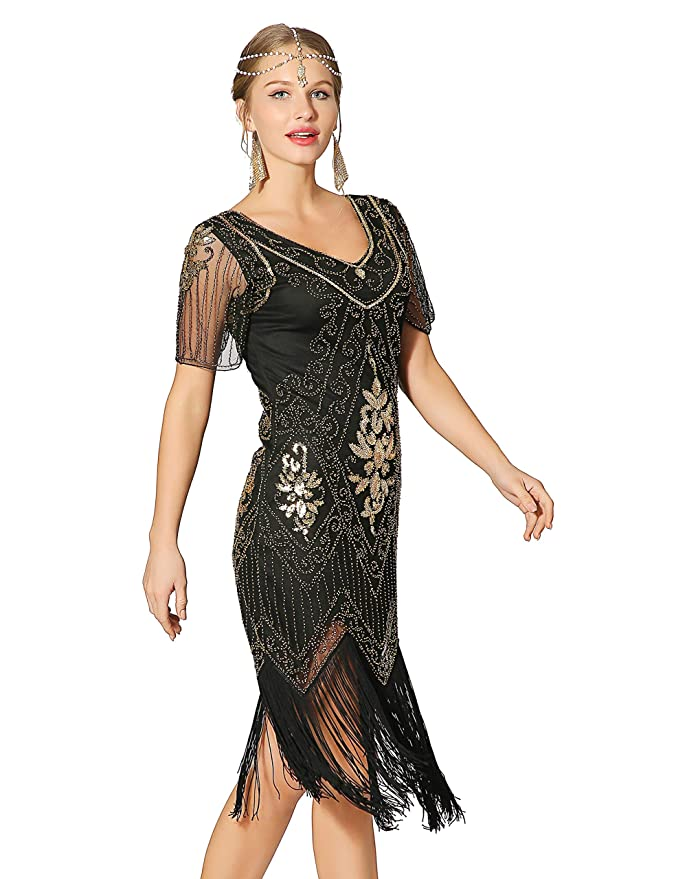 1920s Costumes: Flapper, Great Gatsby, Gangster Girl Metme Womens Roaring 1920s Gatsby Dresses Short Sleeve Dress Cocktail Flapper Dress $32.99 AT vintagedancer.com
