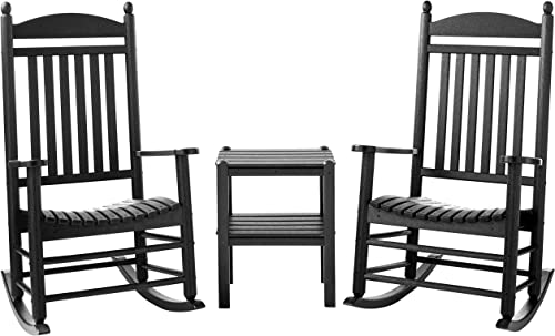 POLYWOOD PWS111-1-BL Jefferson 3-Pc. Rocker Set, Black