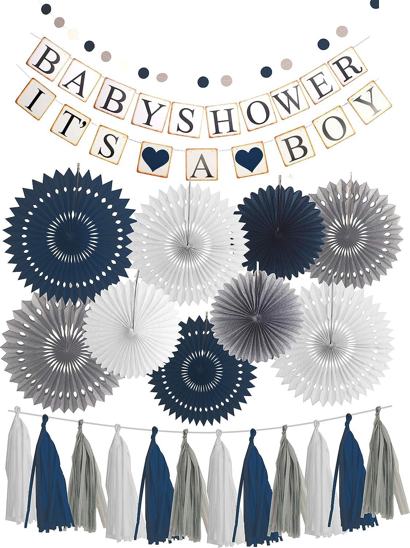 MEANT2TOBE Blue White Grey Baby Boy Baby Shower Decorations / Grey Elephant Baby Shower, Blue Baby Shower Decorations for Boy - Its A Boy Party Decor (Dark Blue)