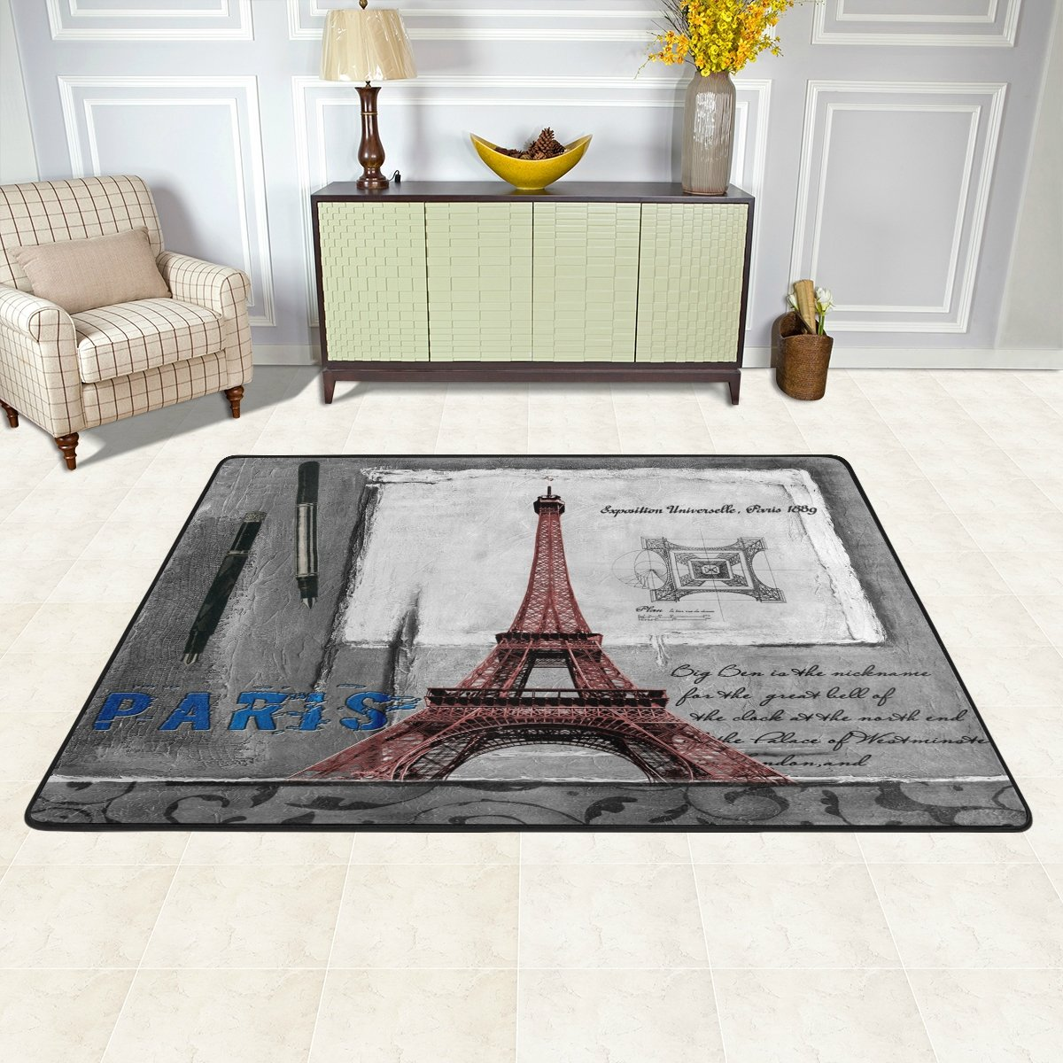 Baby Vintage Retro Eiffel Tower Polyester Area Rug Mat For Living Dining Dorm Room Bedroom Home Decorative Naanle Paris Area Rug 1 8x2 7 Rugs Carpets