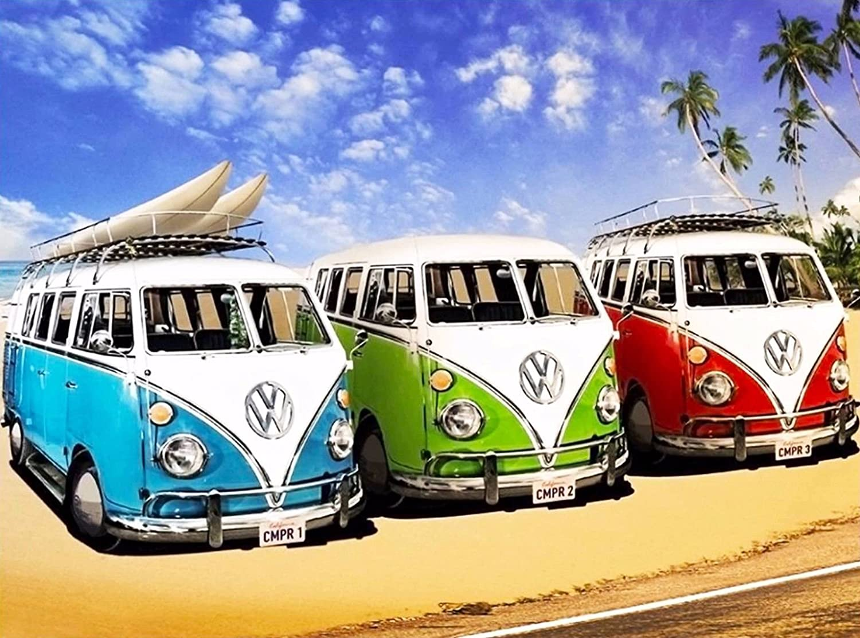 California Surf/'s Up VW Volkswagon Van Ocean Beach Travel Advertisement Poster