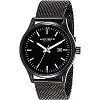 Akribos XXIV Men's Enterprise Round Radiant Sunburst Three Hand Quartz Watch with Stainless Steel Bracelet