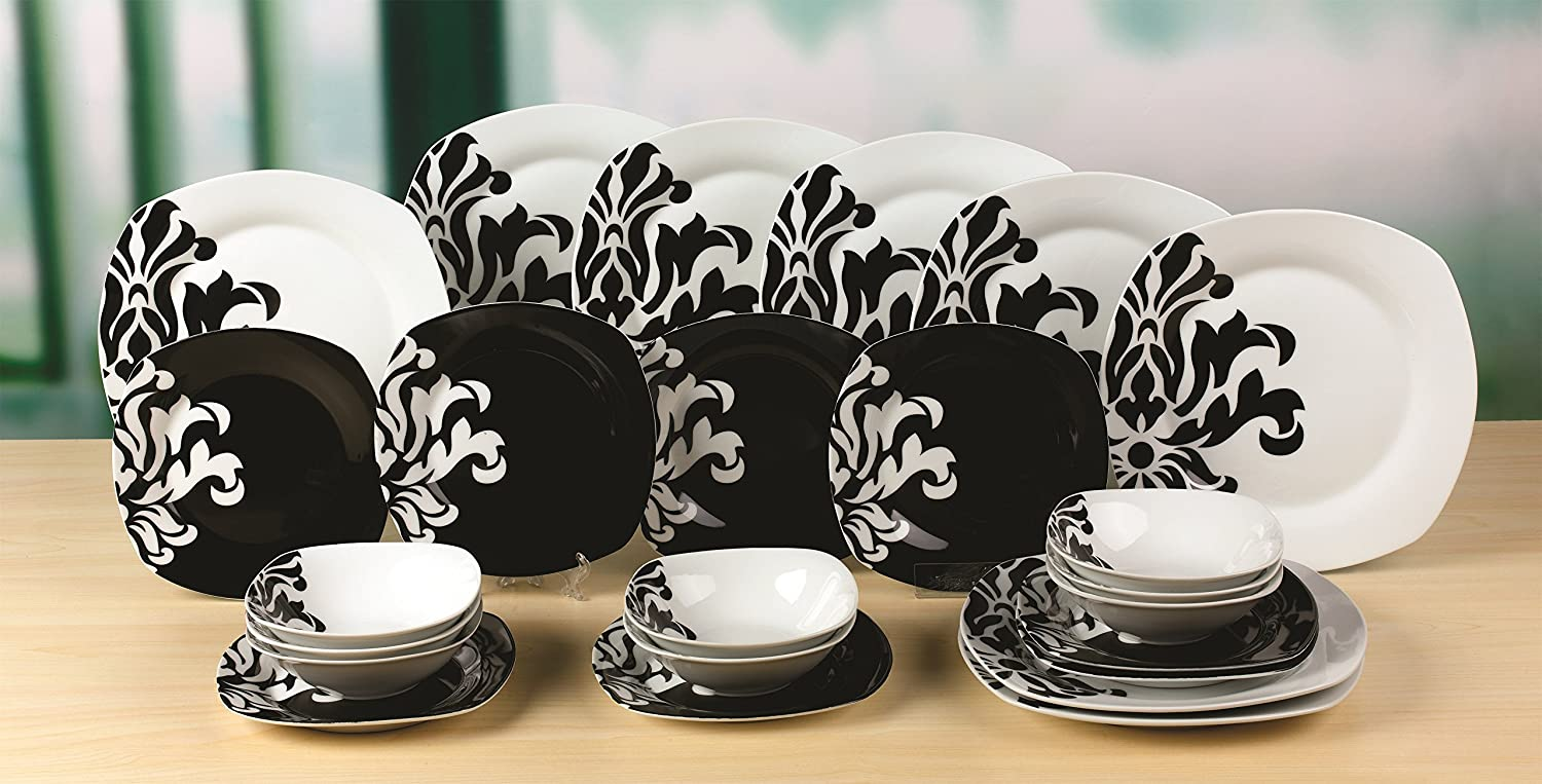 24 Piece Black And White Damask Square Dinner Set: Amazon.co.uk: Kitchen U0026  Home