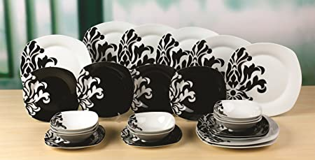 24 Piece Black and White Damask Square Dinner Set & 24 Piece Black and White Damask Square Dinner Set: Amazon.co.uk ...