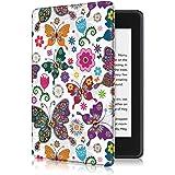 Capa para Kindle Paperwhite (aparelho à prova d`água) - rígida - sistema de hibernação - Borboletas Coloridas