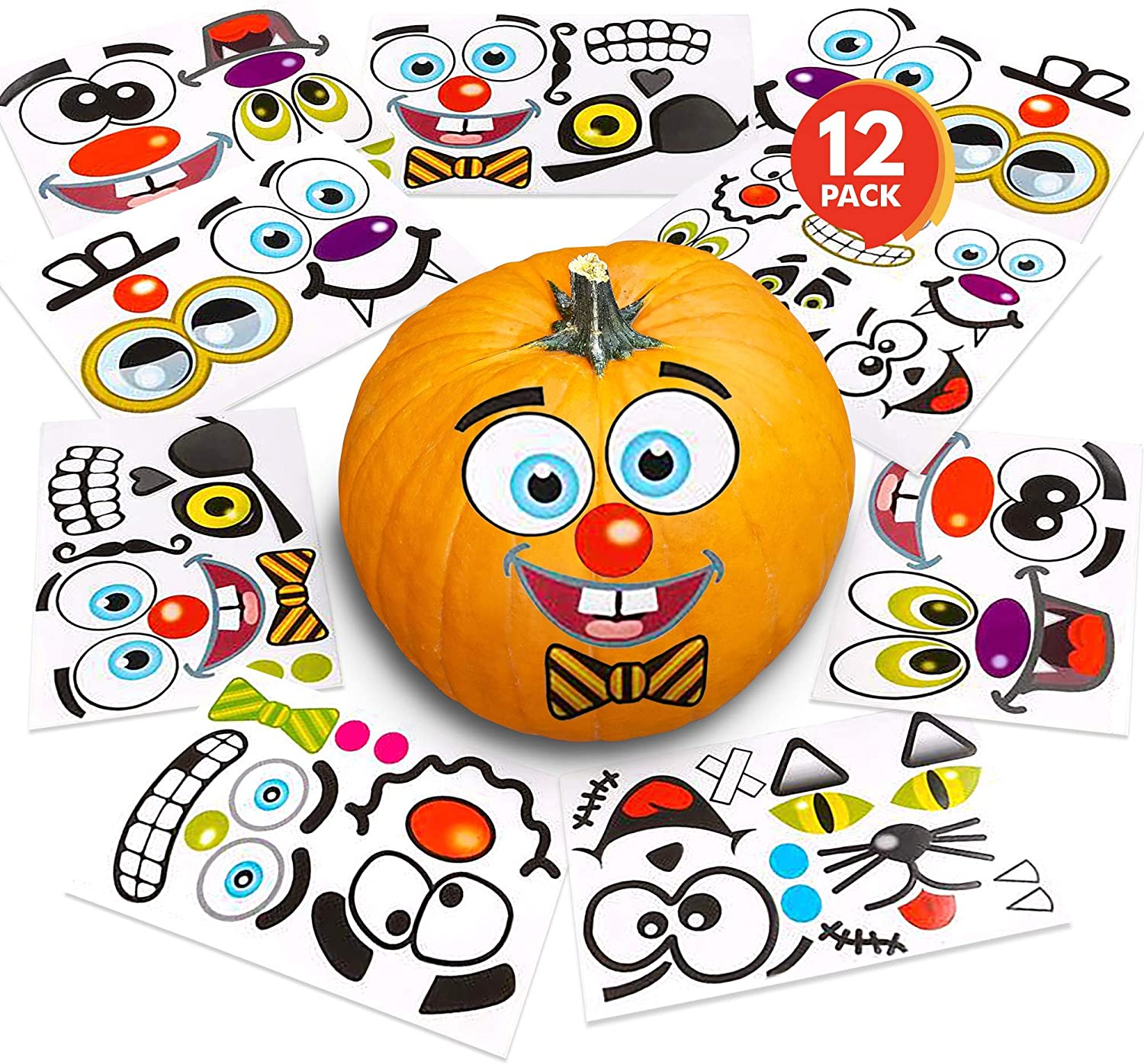 ArtCreativity Halloween Pumpkin Decorating Stickers - 12 Sheets - Jack-o-Lantern Decoration Kit - 26 Total Face Stickers - Cute Halloween Decor Idea - Treats, Gifts, and Crafts for Kids