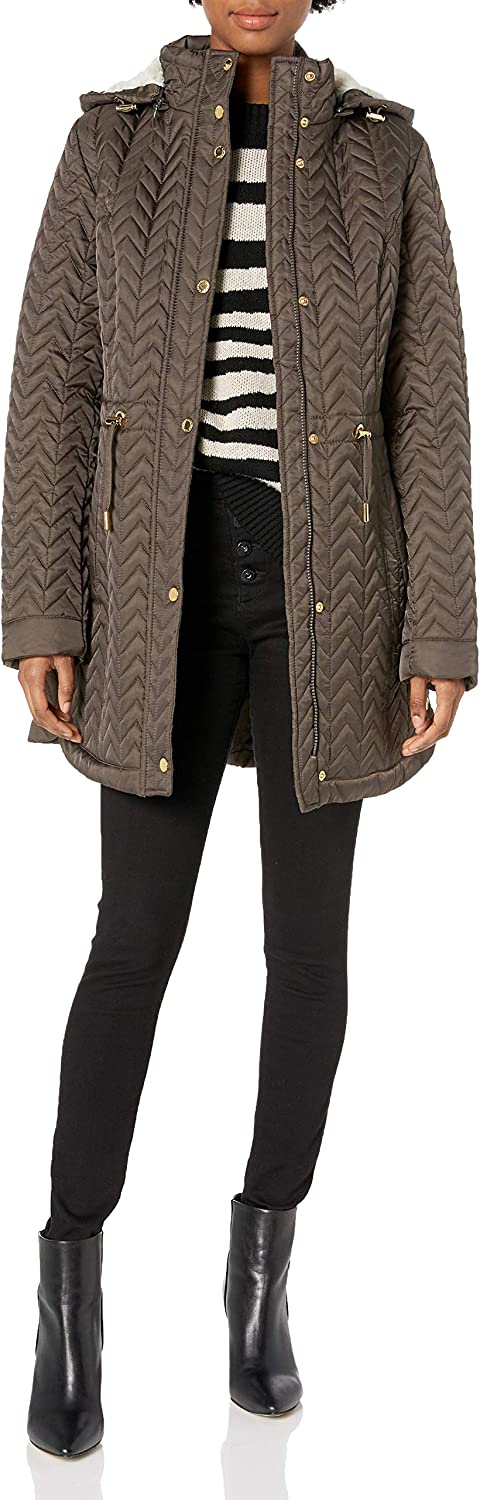 Laundry by Shelli Segal Women's Quilt Jacket with Faux Fur Trim