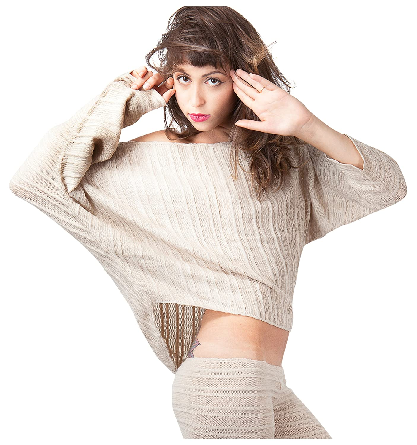 Sexy Off Shoulder Cocoon Top & Hipster Yoga Tights Stretch Knit Shadow Stripe