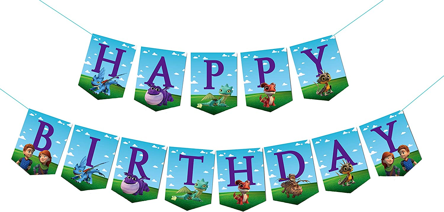 Dragon Rescue Riders Birthday Banner Party Decorations,Childrens Birthday Party Decoration