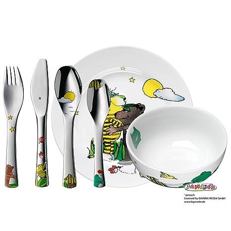 WMF Janosch - Vajilla para niños 6 piezas, incluye plato, cuenco y cubertería (