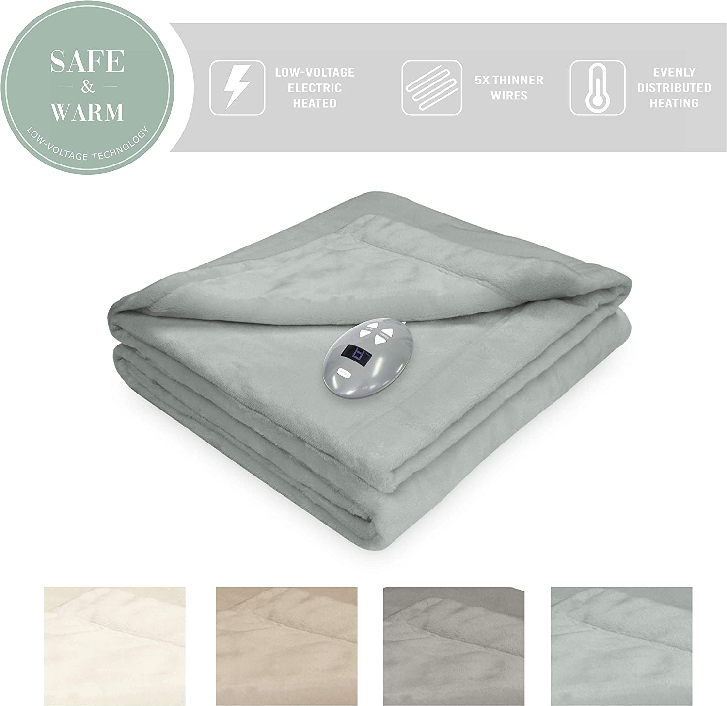Soft Heat 856542 Low Voltage Heated Electric Luxe Plush Warming Blanket Full Gray