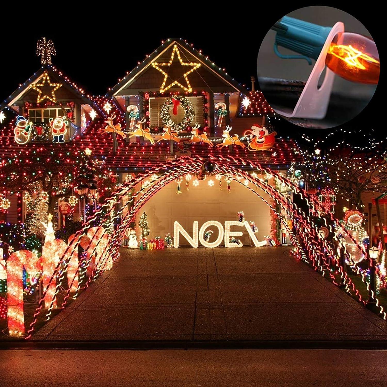 Yesoa 100Pcs Original Shingle Tab Light Clips Shingle Tabs for C9 and C7 Light Bulbs Christmas Lights and Holiday Decorations