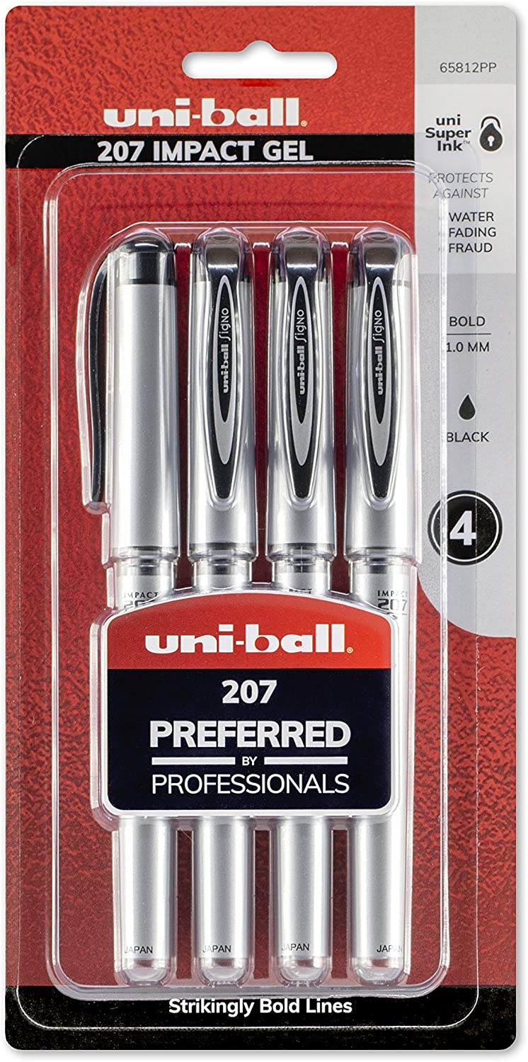 uni-ball 207 Impact Gel Pens, Bold Point (1.0mm), Black, 4 Count