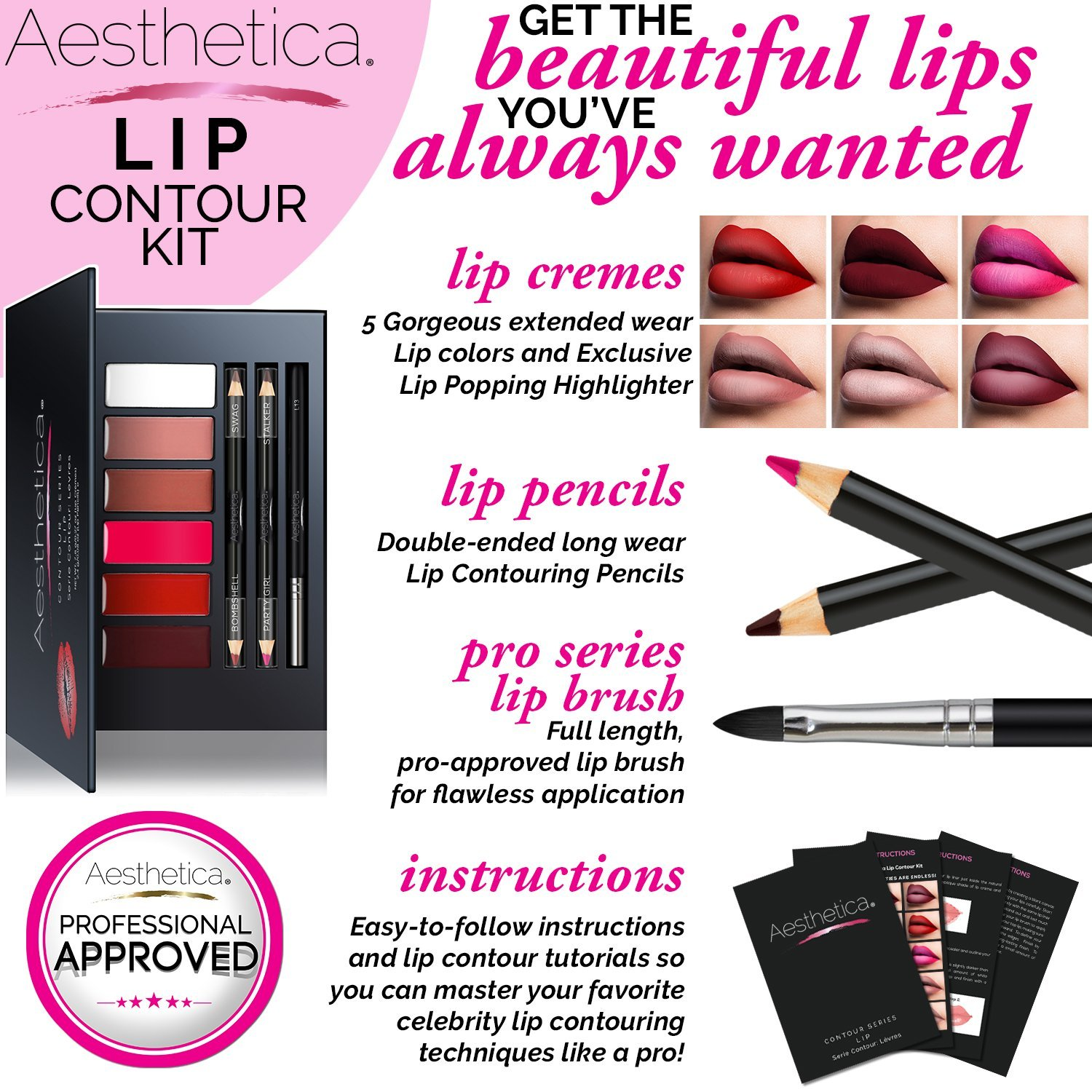 Aesthetica Matte Lip Contour Kit - Lipstick Palette Set Includes 6 Lip Colors, 4 Lip Liners, Lip Brush and Instructions by Aesthetica (Image #5)