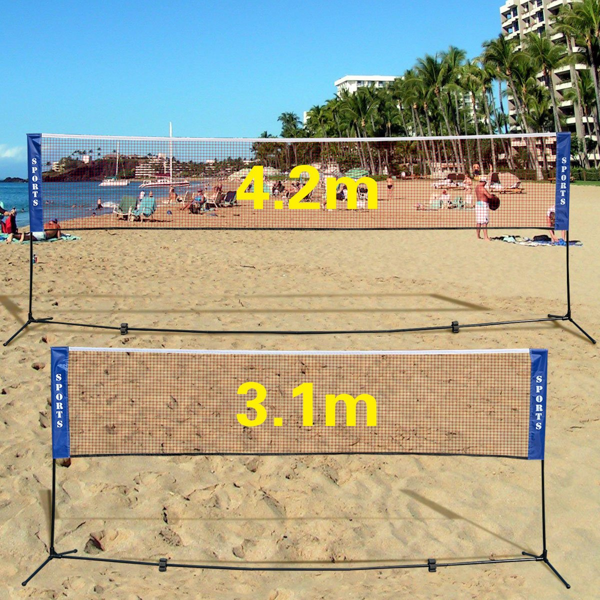 GYMAX 3m/4m Foldable Adjustable Badminton Tennis Volleyball Net W/Free Stand