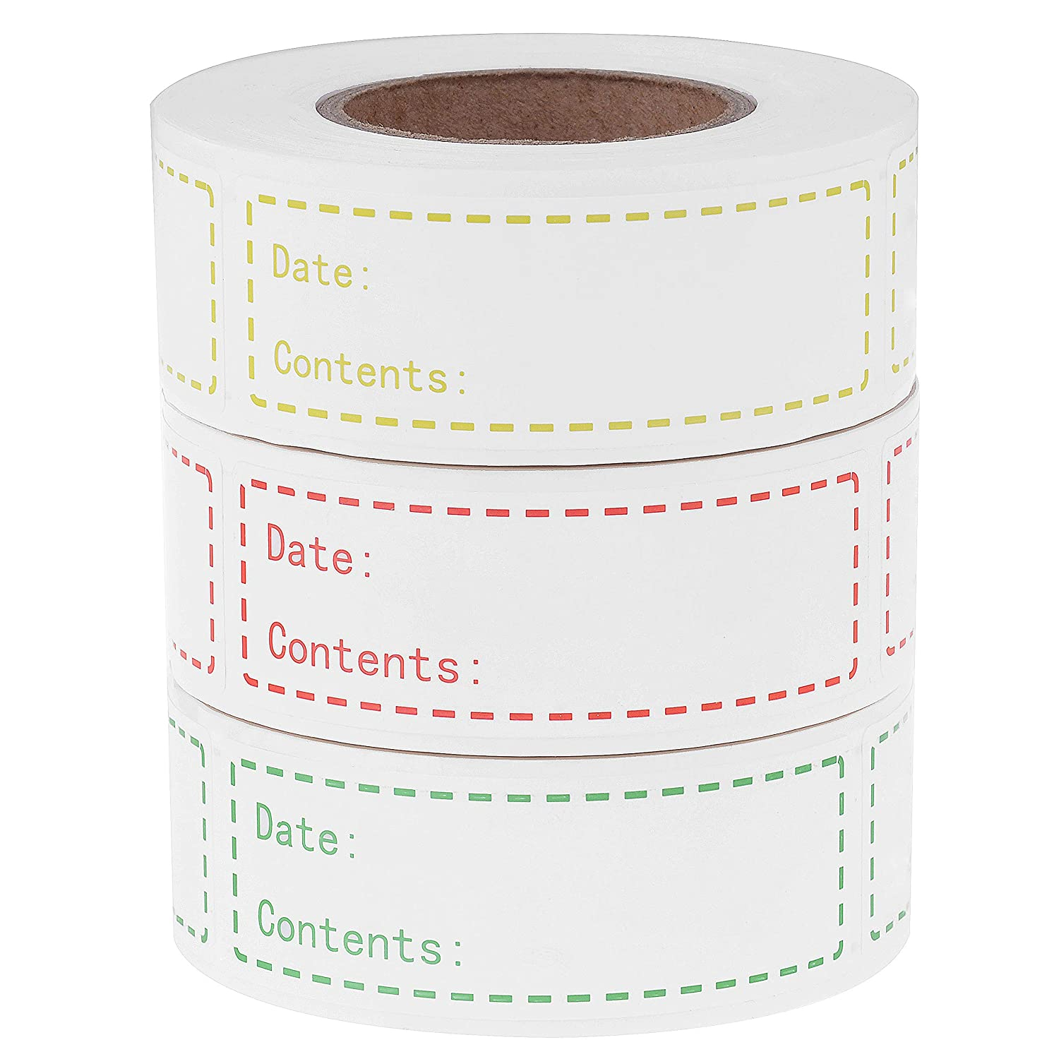 900 Pieces Removable Food Storage Labels Freezer Labels 1x3in Food Storage Stickers Refrigerator Freezer Labels Adhesive Paper Labels(3Rolls,Red,Yellow,Green)