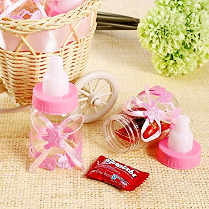 CHSYOO 24 x Rosado Baby niña Candy Bottle Caja de Regalo para Bautizo Baby Shower Babyshower Kids Party Garden Party Party Favor