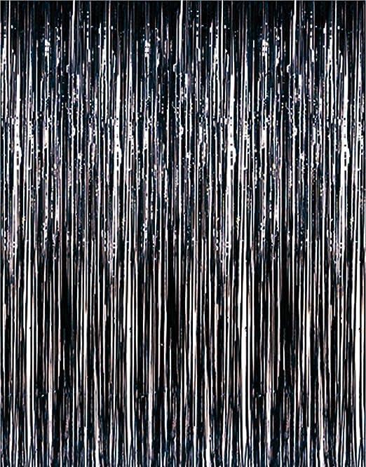 3ft x 8ft Black Metallic Fringe Tinsel Photobooth Prom Curtain Party Backdrop