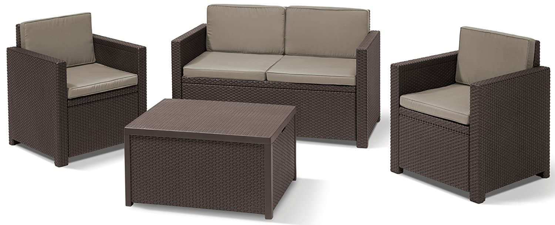 Allibert 220024 Lounge Set Monaco mit Kissenbox-Tisch 2x Sessel und 1x Sofa, Rattanoptik, Kunststoff, braun