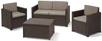Amazon.de: Allibert 220024 Lounge Set Monaco mit Kissenbox-Tisch 2x ...