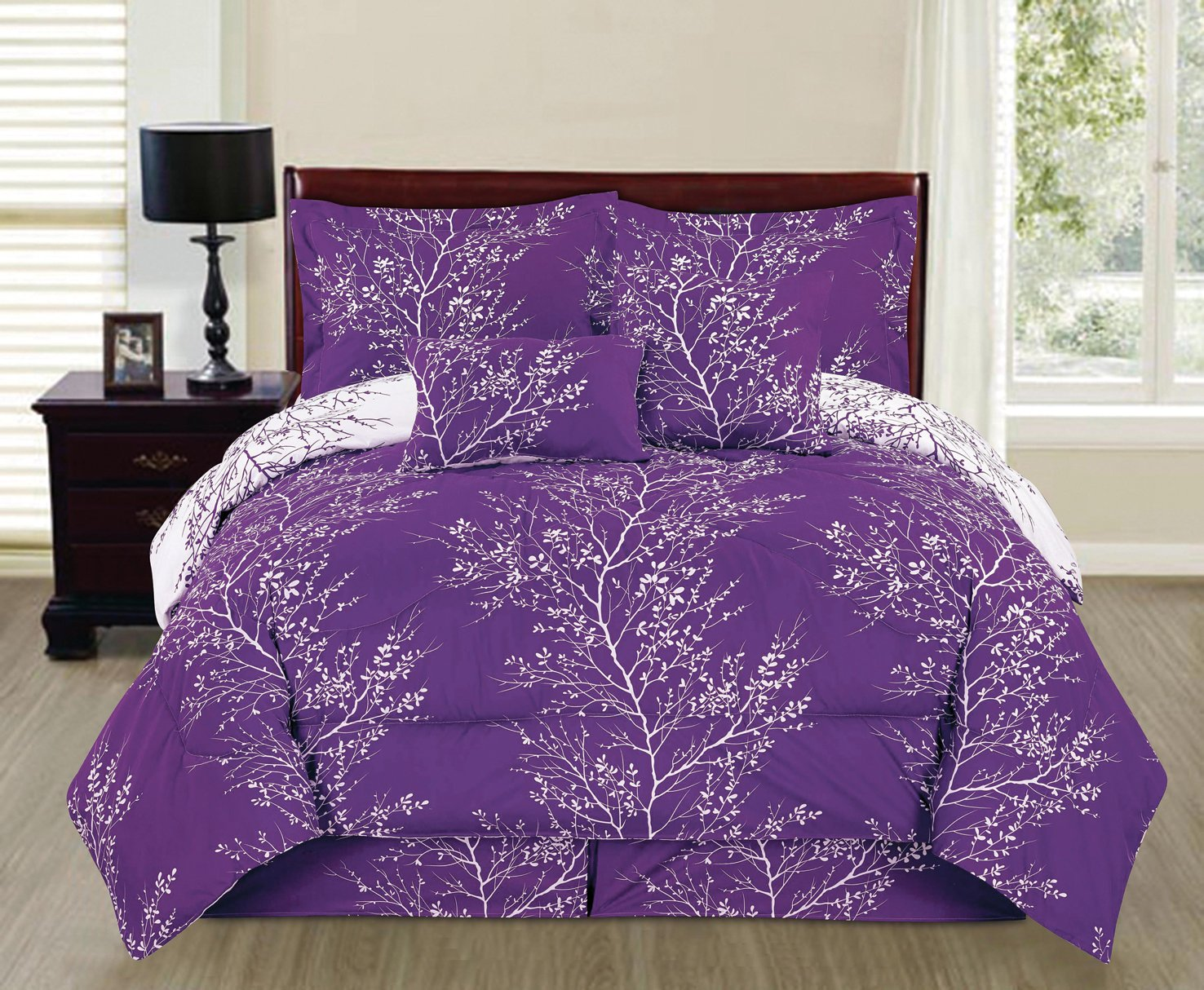 6 Piece Reversible Branches Comforter Set New Bedding (Queen, Purple