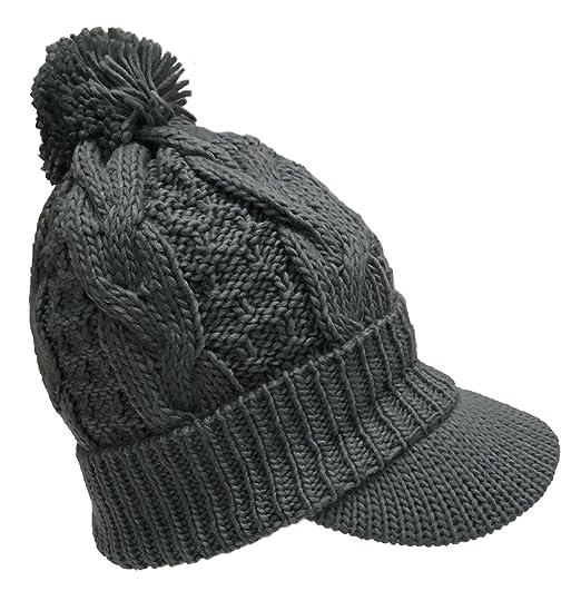 4f8c19796c764b N'Ice Caps Women's Fleece Lined Bulky Cable Knit Jockey Brim Winter Hat (One