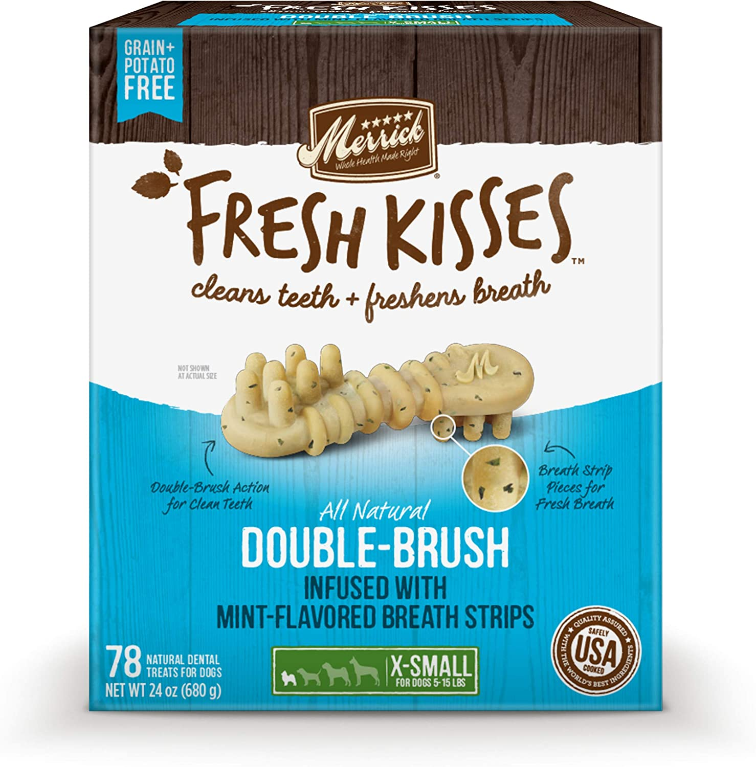 Merrick Fresh Kisses Oral Care Dental Dog Treats for Dogs Small Dogs 5-15 lbs