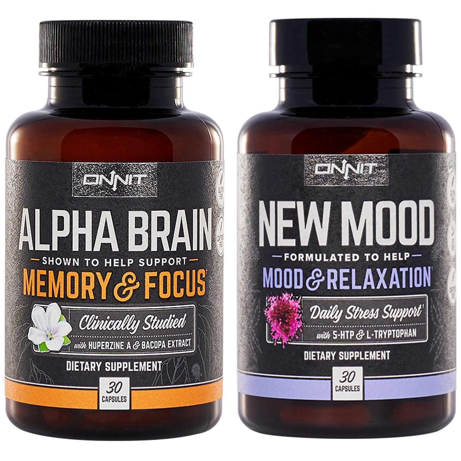 Onnit Alpha Brain and New Mood Nootropic Pack   Supports Optimal Cognitive Function and Mood