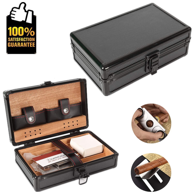 CDM product OMMODA Portable Genuine Leather Cedar Cigar Travel Case Cedar Humidor Cutter Rack Set Wooden Box (Black Shell) big image