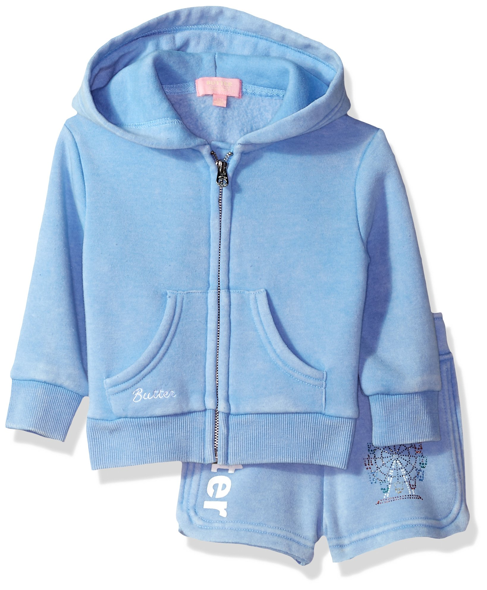 Butter Baby Girls Fleece Set, Della Robbia Blue, 18M by Butter
