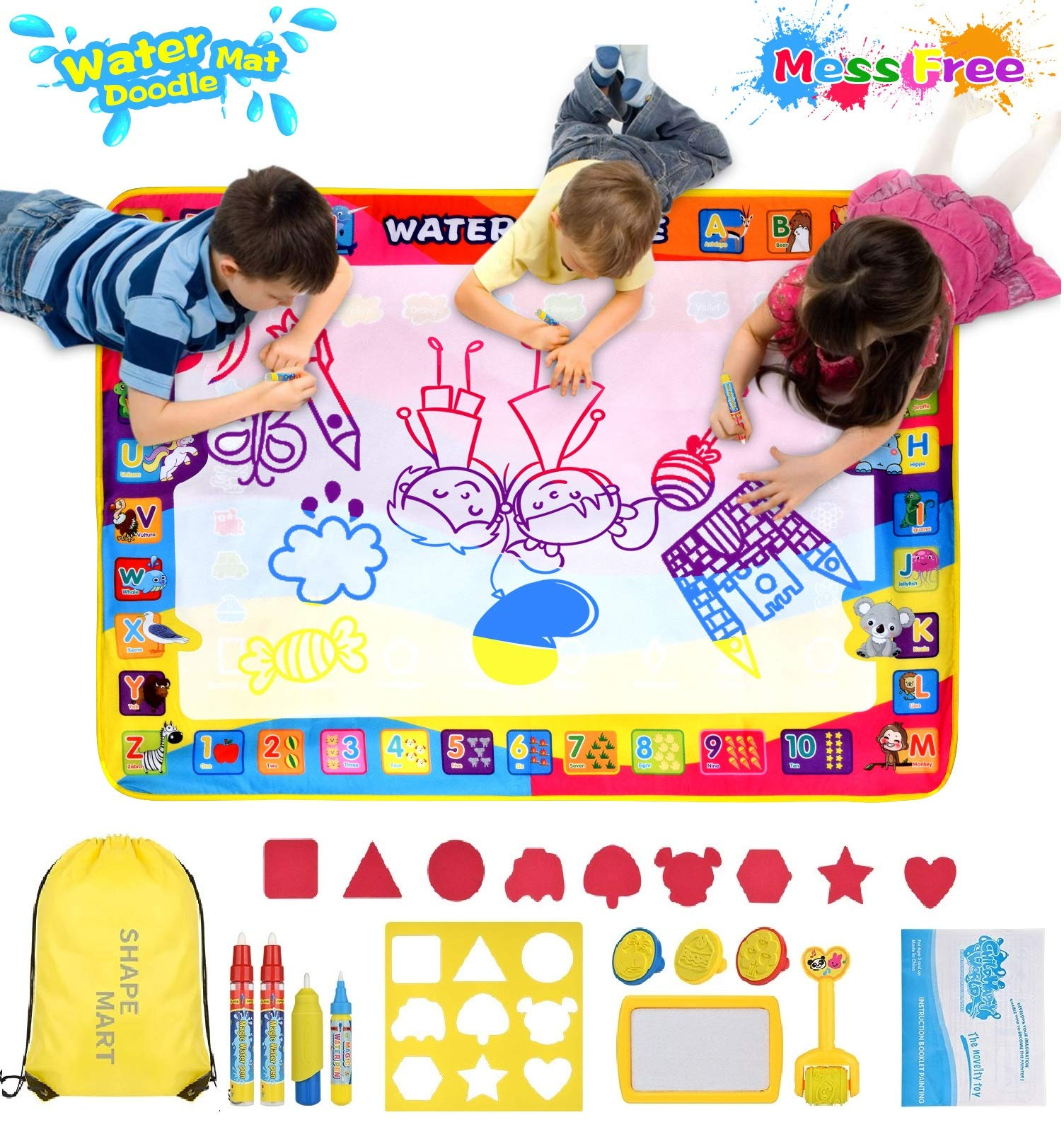 Shape Mart Aqua Magic Mat - Large Drawing Water Doodle Mat for Toddler, Mess Free Paiting Mat with Magic Pens, Educational Toys for Age 2 3 4 5 6 7 8 Years Old by Shape Mart