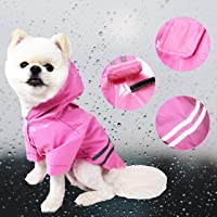 Cutie Pet Dog Raincoat Waterproof Coats Lightweight Rain Jacket Breathable Rain Poncho Hooded Rainwear with Safety Reflective Stripes for Small to Large Dogs