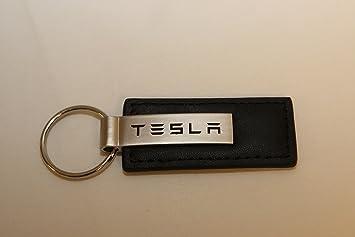 Tesla Keychain & Keyring - Black Premium Leather