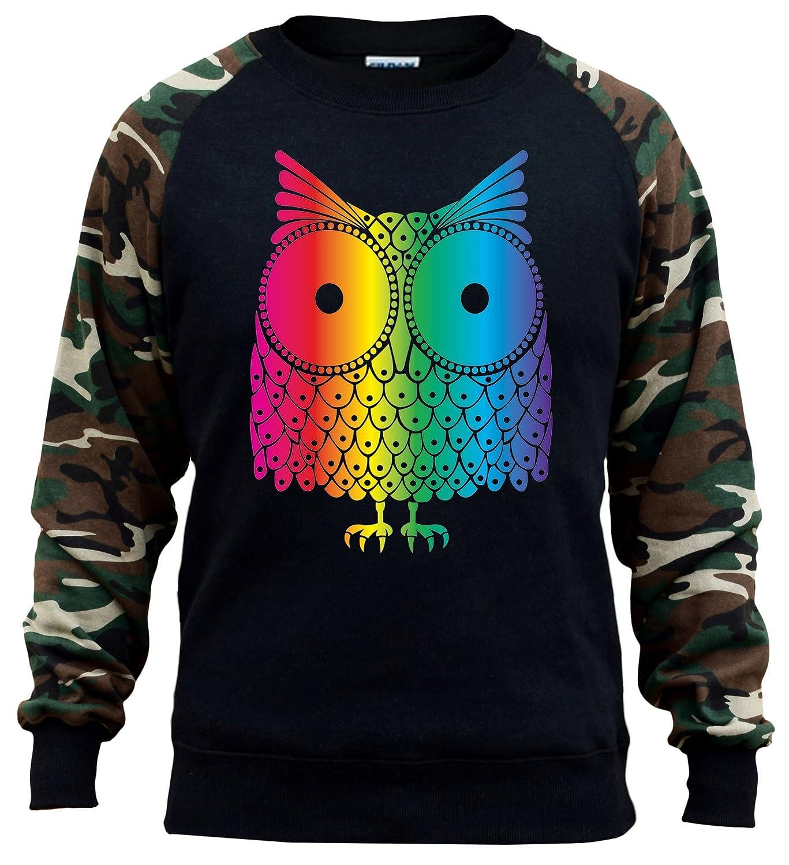 Mens Rainbow Owl Black//Camo Raglan Baseball Sweatshirt Black