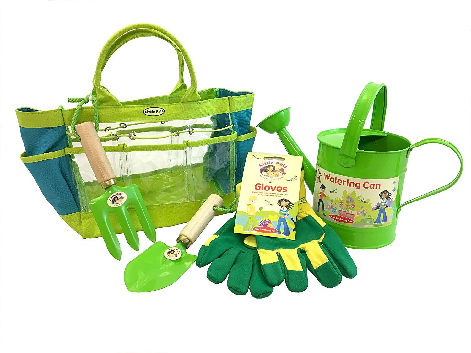 Tierra Garden 7-LP095 Little Pals Kids Garden Kit with Watering Can, Hand Trowel, Hand Fork and Gloves, Green