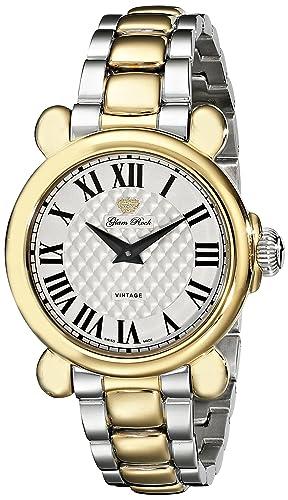 Glam Rock Women s GR28058 Vintage Glam Analog Display Swiss Quartz Two Tone Watch