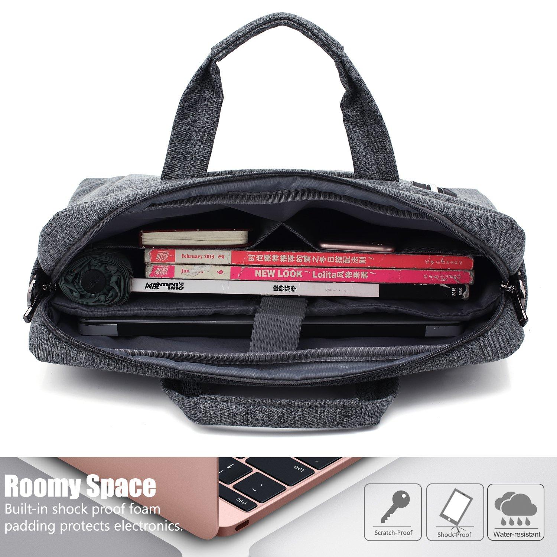 CoolBELL 17.3 inch Laptop Bag Messenger Bag Hand Bag Multi-compartment Briefcase Oxford Nylon Shoulder Bag For Laptop/Ultrabook/HP/Acer/Macbook/Asus/Lenovo/Men/Women (New Grey) by CoolBELL (Image #4)