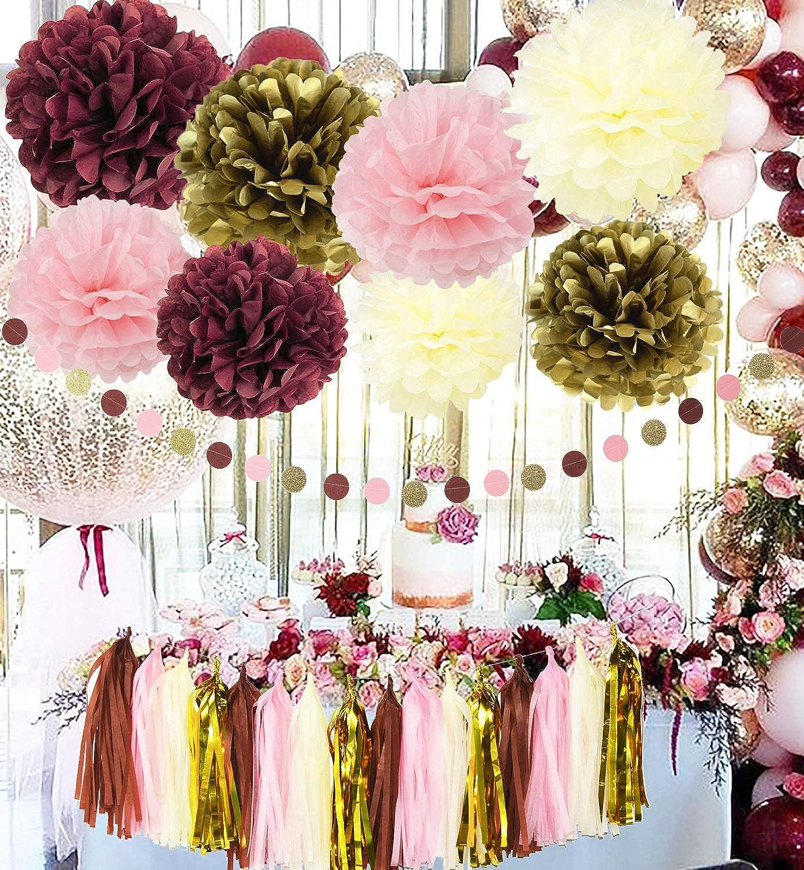 Amazon.com Qian\u0027s Party Bridal Shower Decorations Burgundy