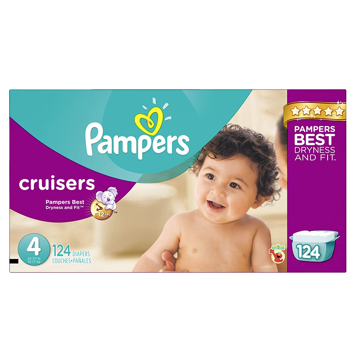 Pampers Cruisers Disposable Baby Diapers Size 4, Economy Pack, 124 Count (Packaging May Vary)