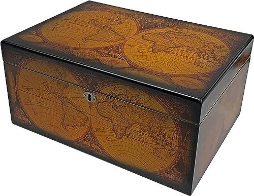 Desktop-Humidor,-Old-World,-Walnut-Finish,-Spanish-Cedar-Tray,-3-Dividers,-Holds-up-to-100-Cigars