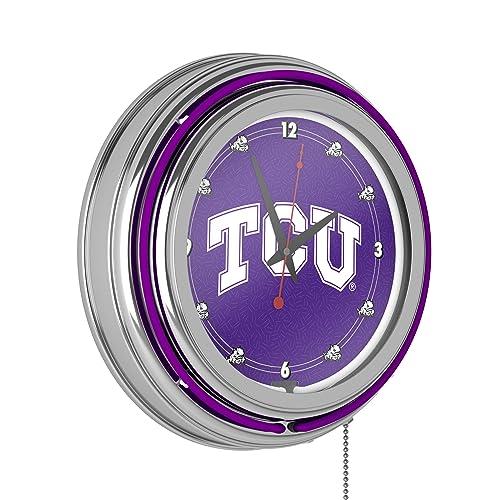 Texas Christian University Chrome Double Rung Neon Clock