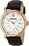 Wenger Urban Classic PVD Men's Quartz Watch with Silver Dial Analogue Display and Brown Leather Strap 011041109